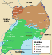 Distribution of languages in Uganda