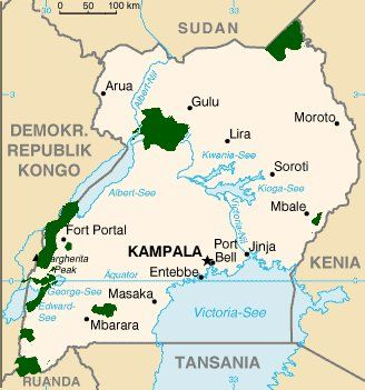 Detailed map of Uganda